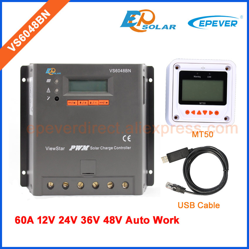 PWM EPEVER LCD display controller for solar panels home system Battery charger 24V 48V auto MT50 meter VS6048BN 60A 60amps 30a 12v 24v 36v 48v auto pwm solar charge controller lcd display with mt50 meter connect solar panels battery for solar system page 3