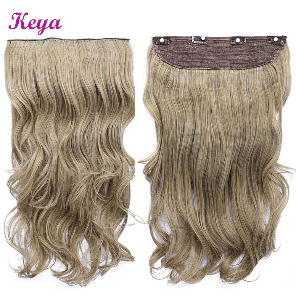 Clip in Hair Extensions Body Wave 24 inch Natural Halo Hair Extensions 4 Clips in One Piece 190g Synthetic Hair Extensions(China)