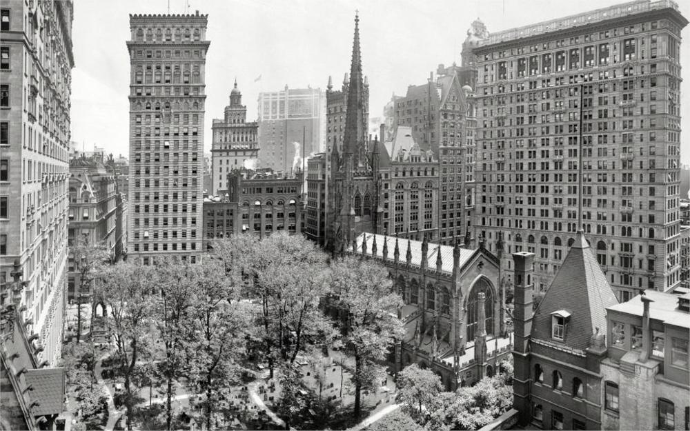 Building New York Buildings Skyscrapers B W Trees Cemetery vintage 4 Sizes Home Decoration Canvas Poster Print
