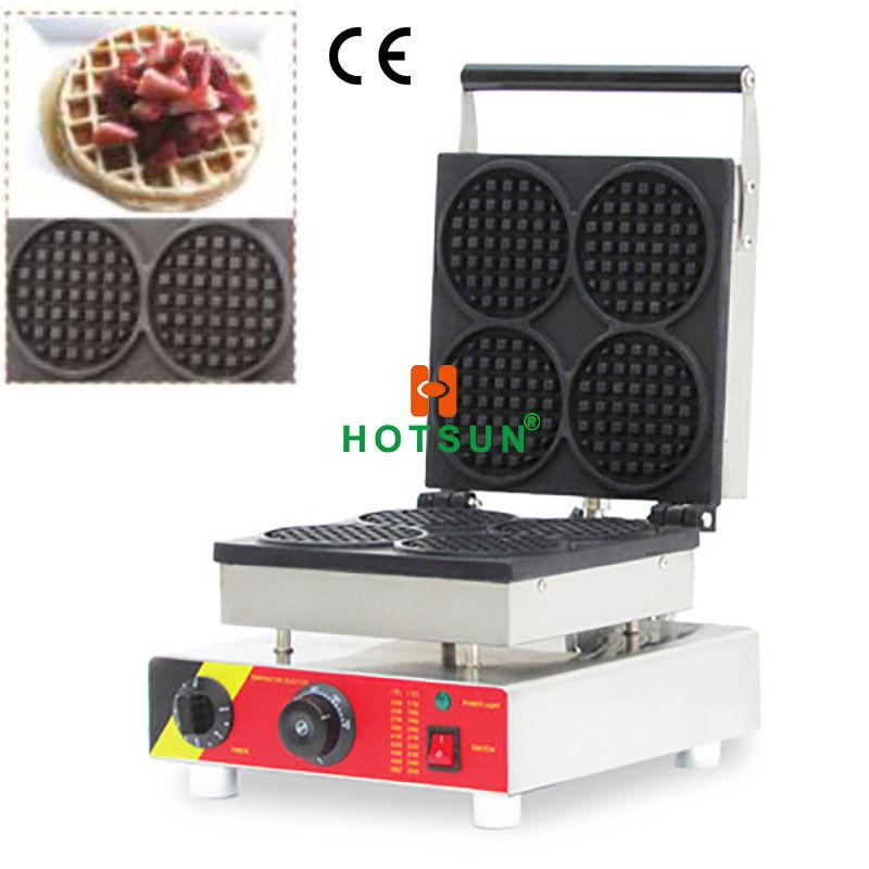 Commercial Nonstick 110V 220V Electric 4pcs Belgian Liege Waffle Maker Machine 110v 220v electric belgian liege waffle baker maker machine iron