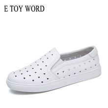 E TOY WORD 2019 Summer womens flats shoes ballet fashion Ladies slip on loafers white cutout comfort flat boat