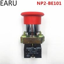 1 pcs earu nc no 순간 래칭 22mm 빨간색 버섯 비상 정지 푸시 버튼 스위치 600 v 10a NP2 BE101 장비 리프트 elevat