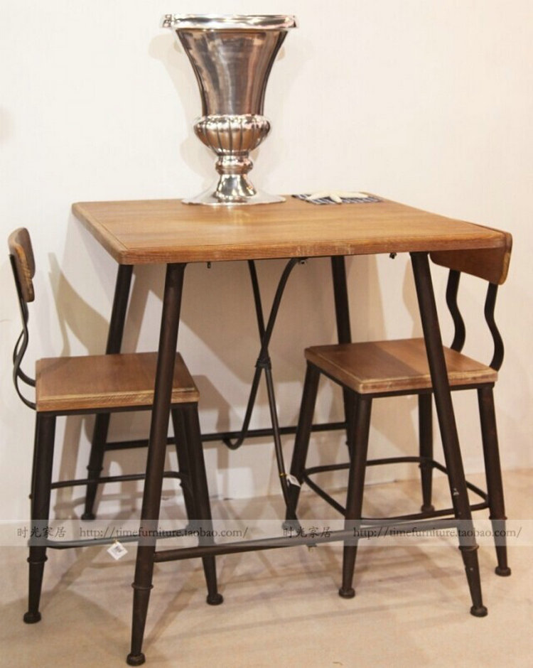 American Iron tea shop cafe tables and chairs solid wood bar tables