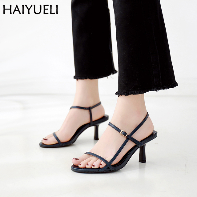 d466818b898 Chaussures Femme 7cm Heel Women High Heels Fashion Women Summer Sandals  Black/Red/Blue Female Shoes Leisure Womens Sandals