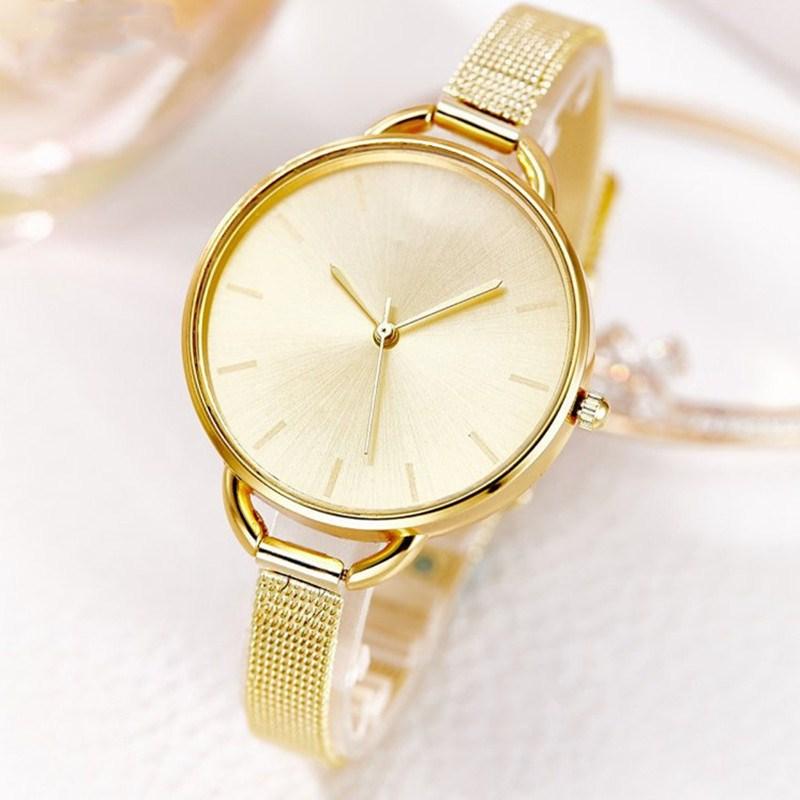 Hot Sales Gold Women's Fashion Ultra-thin Slim Mesh Strap Quartz Analog Wrist Bracelet Watch Female Clock Relogio Feminino 2017
