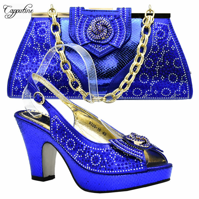 Отличное Королевский синий цвет вечерние туфли-лодочки с сумочкой комплект приятно соответствия для праздничное платье xy03