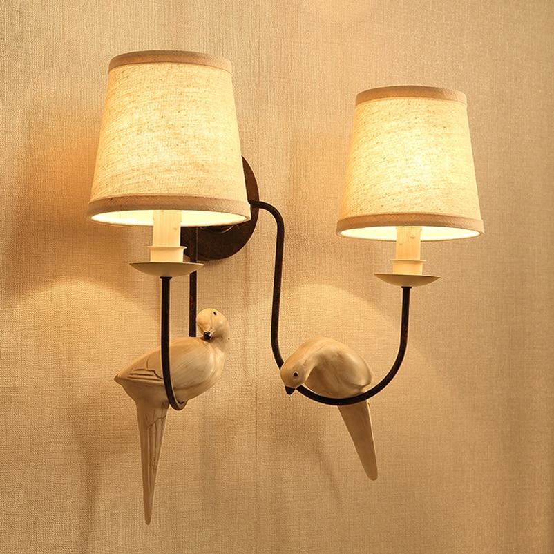 Retro loft wandleuchte doppelköpfe vogel licht studie büro treppengang wohnzimmer schlafzimmer nachtwandleuchte café restaurant bh