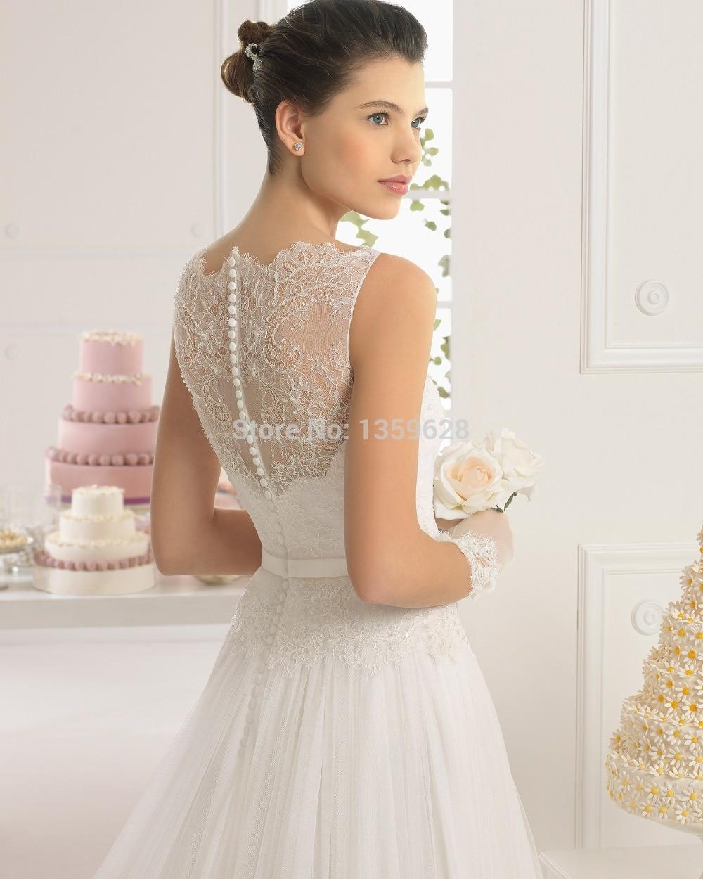 Aliexpress.com : Buy GownBeautiful illusion neckline lace cover ...
