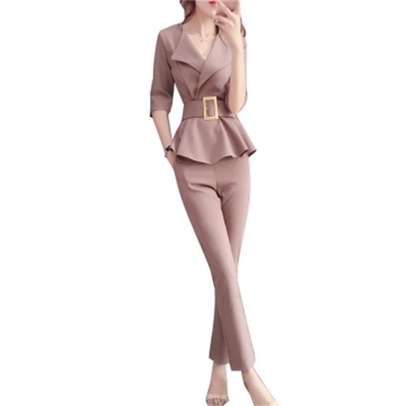 Traje profesional mujer verano ew moda señoras pequeña fragancia estilo temperamento pantalones conjunto de dos piezas-in Conjuntos de mujer from Ropa de mujer    1