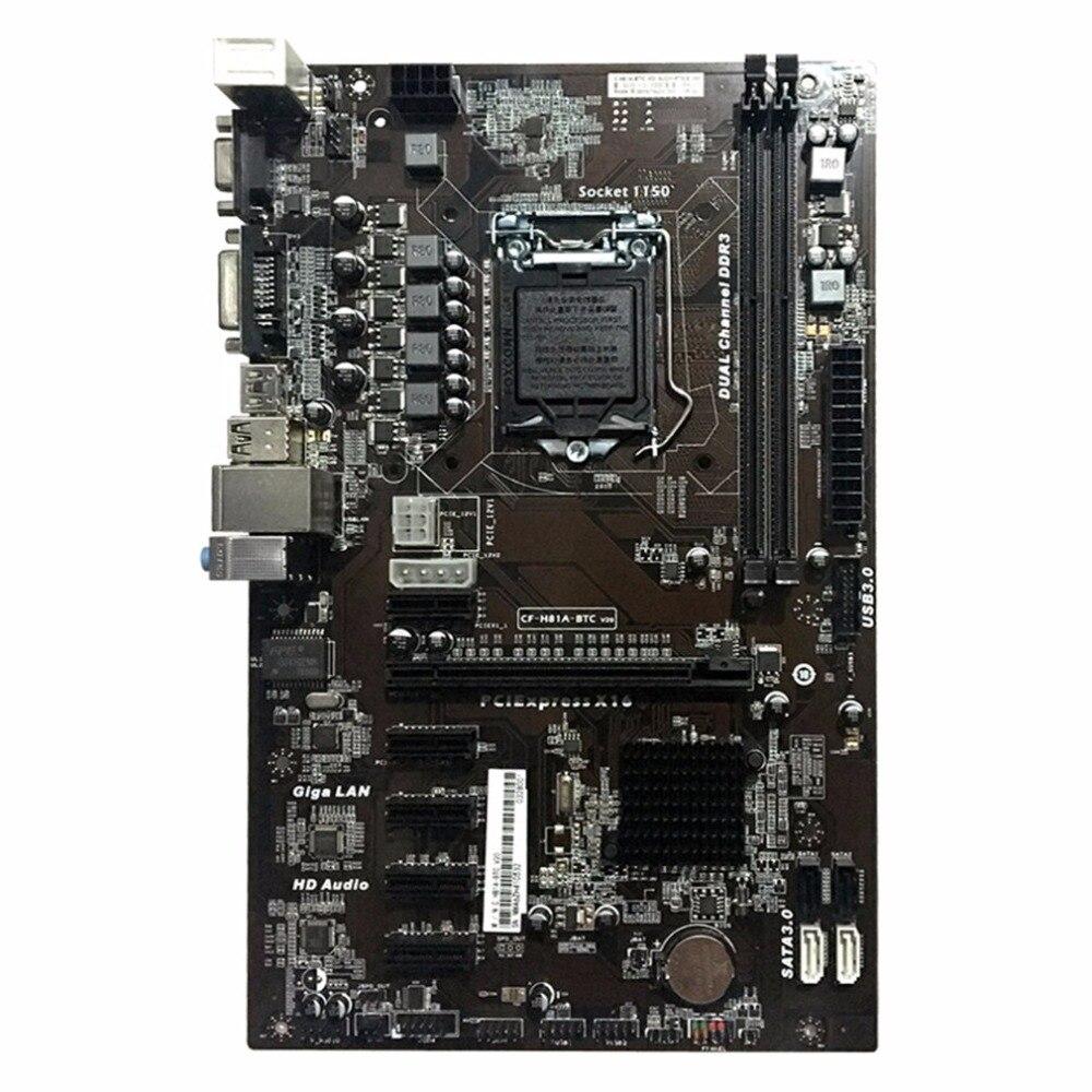 Placa madre H81A-BTC V20 minero placa ATX LGA1150 procesador socket H81 apoyo Mainboard 6 tarjeta gráfica para la minería