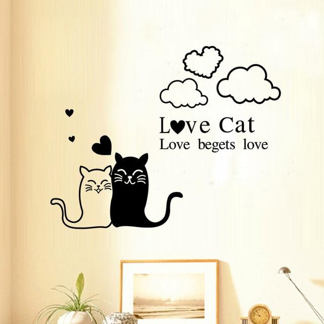 Cat Wall Decor love cat wall sticker romantic love wall art decals bedroom living