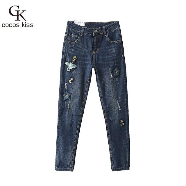2016 Женщин джинсы повседневная птица вышитые патч Плотные trousersslim джинсы нога открытие заусенцев джинсовой Карандаш Брюки