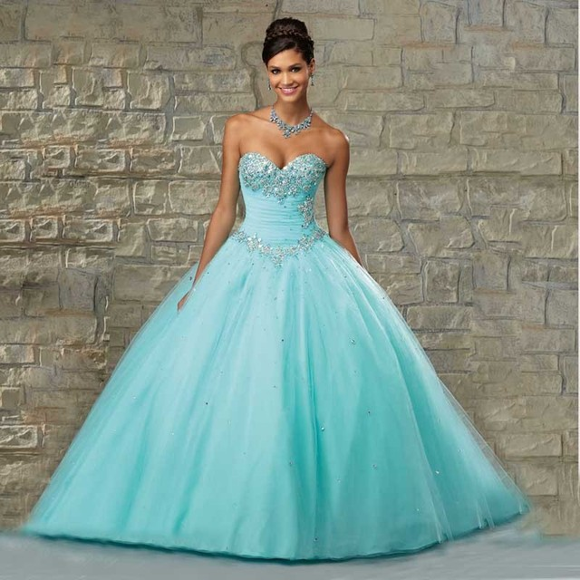 0c7d052f1 2016 New Blue Quinceanera Dresses Ball gown for 15 years Sequined Tulle  Beads Sweetheart Sweet 16 dress Vestidos De 15 Anos