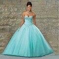 2016 Nuevo Azul Vestidos de Quinceañera balón vestido de 15 años Tul con lentejuelas Perlas Del Amor Del Dulce 16 vestido Vestidos De 15 Anos