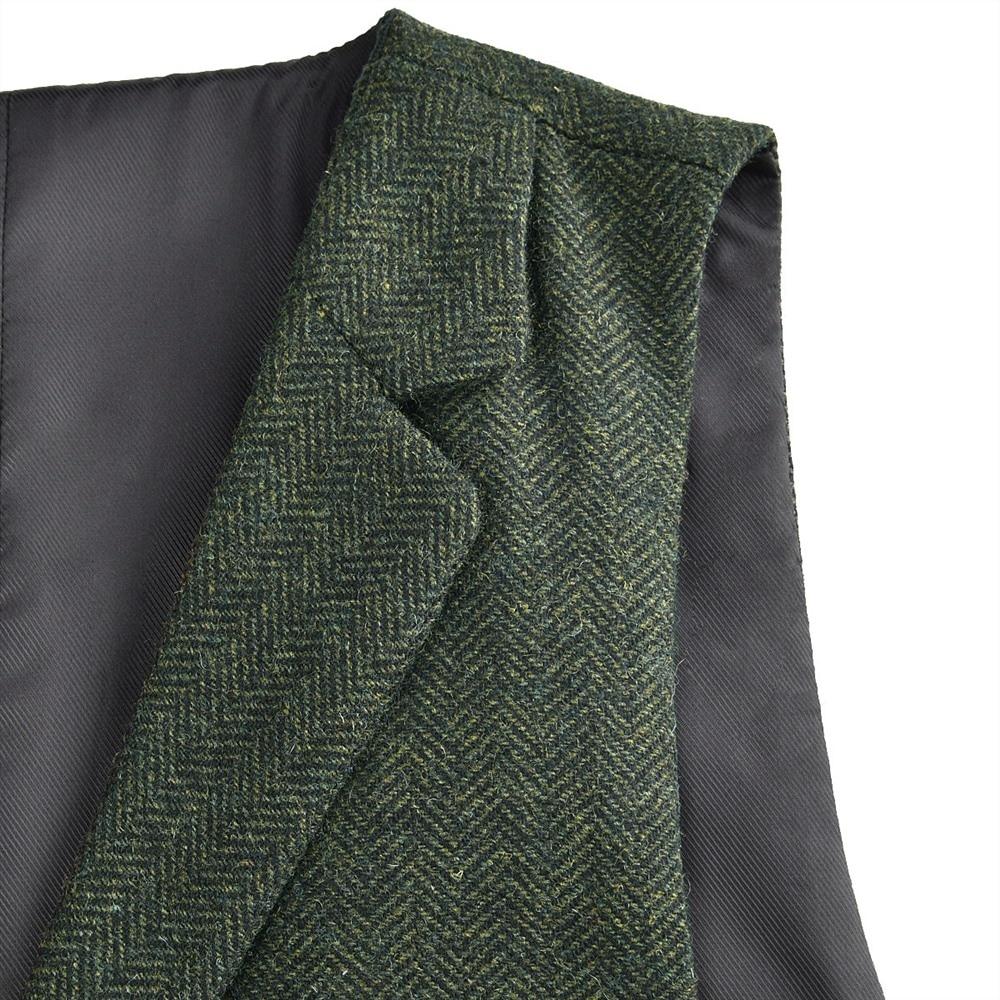 VOBOOM Woolen Tweed Suit Vest for Men Green Herringbone Slim Fit Premium Wool Blend Single-breasted Waistcoat 018
