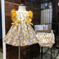 Baby Girl Spanish Dress with Feather Kids Boutique Floral Cotton Dresses Children Birthday Outfits Girl Baptism Christening Gown