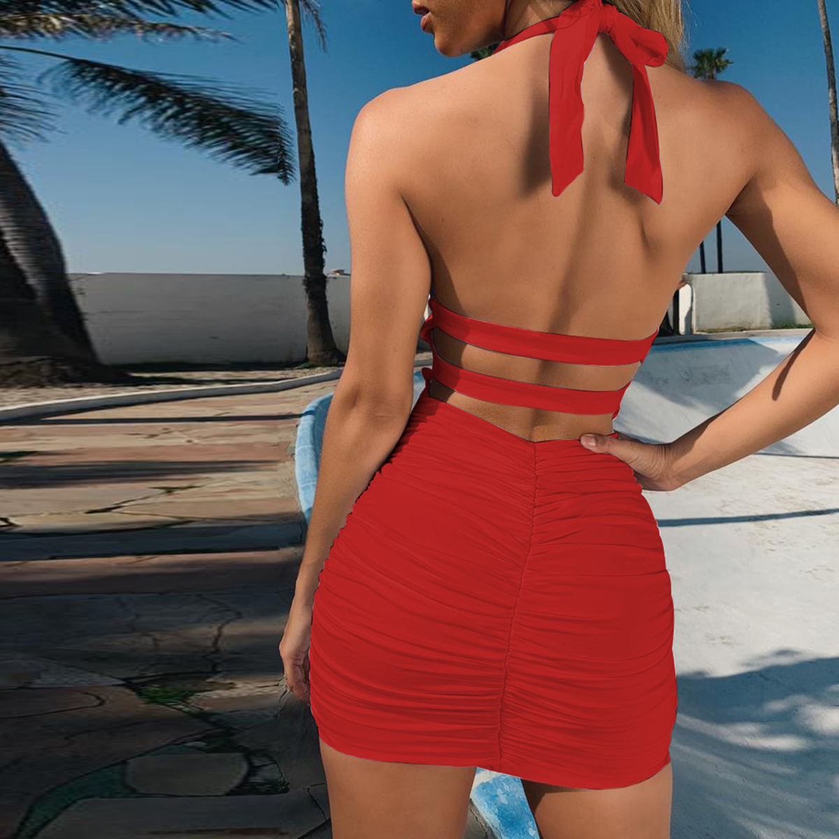 Kimuise Cut Out Sexy V Neck Party Dress Backless Bandage Solid Women Dresses 2019 Vestidos Draped Female Sleeveless Summer Dress in Dresses from Women 39 s Clothing