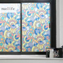 Stained Retro window privacy film glass sticker Rotating art Frosted Etched geometric Non-Adhesive PVC decoration