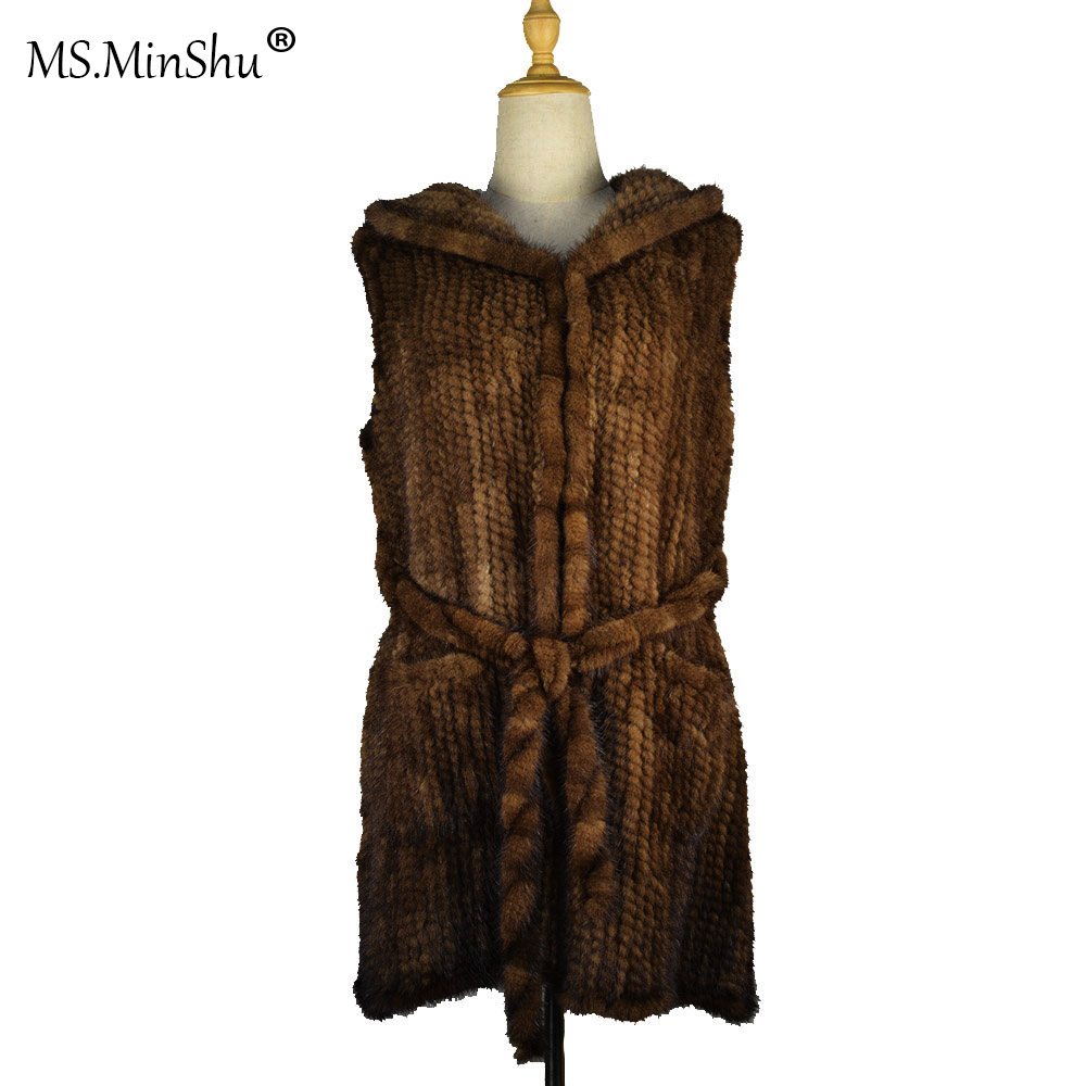 MS.MinShu Genuine Mink Fur Vest Women Real Fur Coat with Fur Hood and fur belt Vest Warm Custom Made Free Shipping