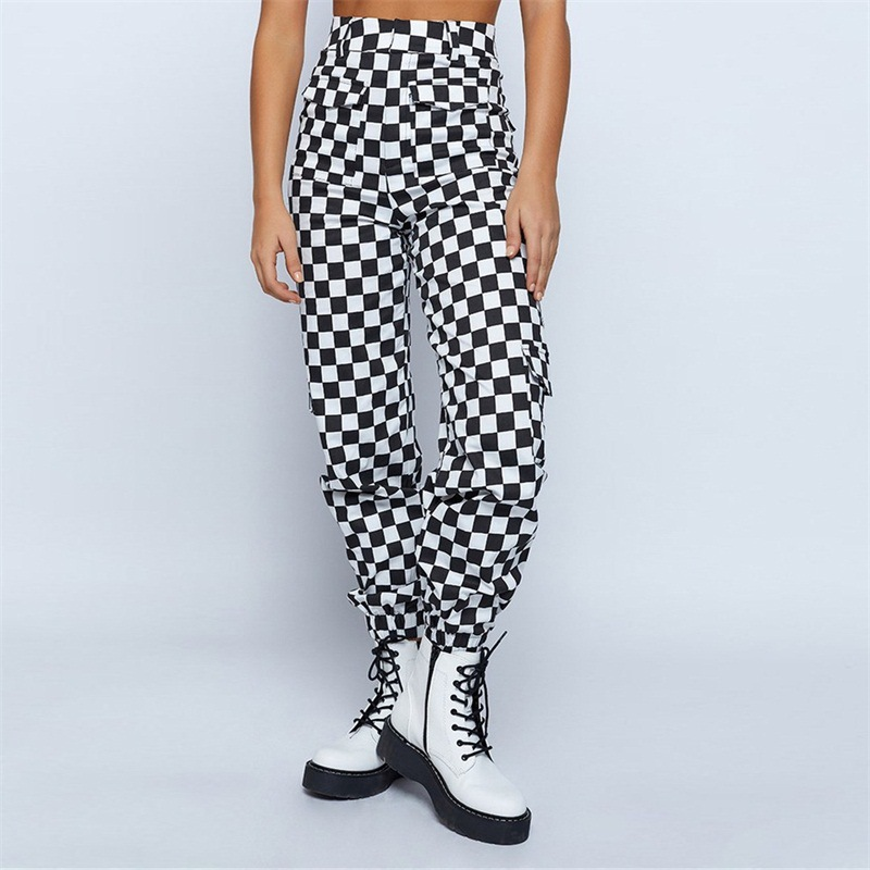 Image 2 - 2019 Fashion Women Plaid Pants Hip Hop High Waist Joggers Loose Pants Checkerboard Pantalon with Chain Female Plaid Trousers-in Pants & Capris from Women's Clothing