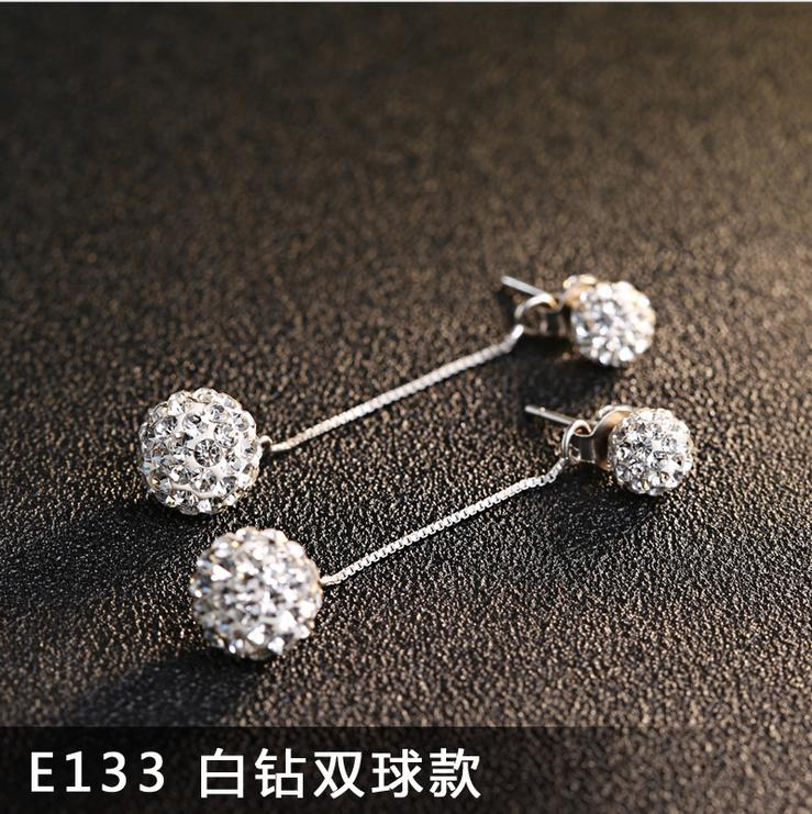 Real 925 Silver Jewelery Shambhala Drop Earrings For Women Dangles Long Chains Crystal Ball Fashion Accessory 50mm Length 1 pair