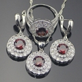 Classic Red Garnet White Created Topaz Jewelry Sets For Women Sterling Silver Earrings/Pendant/Necklace/Rings Free Gift Box