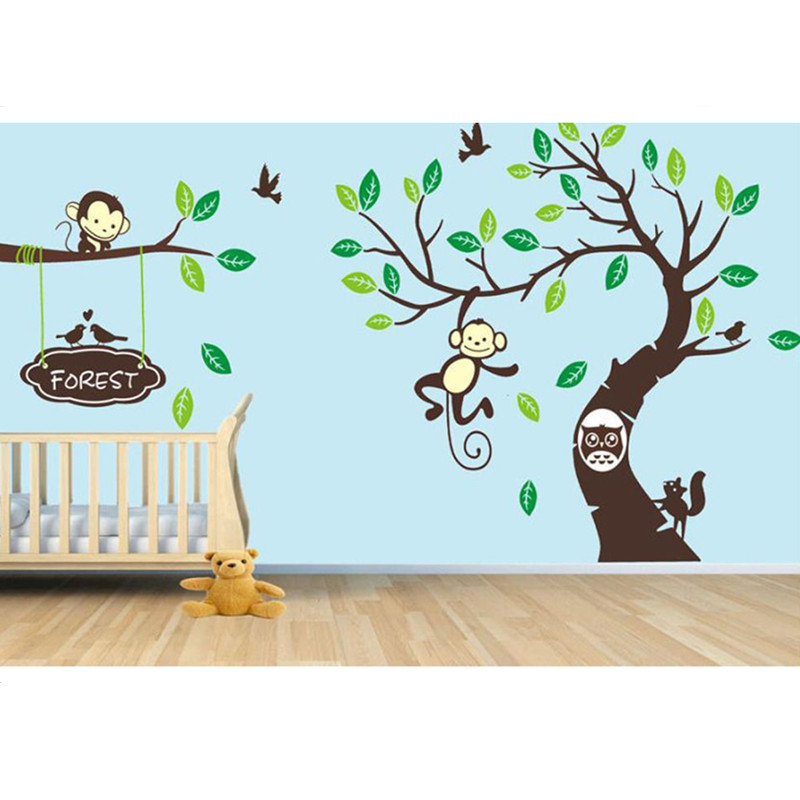 4 Cute Monkeys Wall Decals Sticker Nursery Decor Mural: 100% New Cute Wall Sticker Large Forest Tree & Monkey