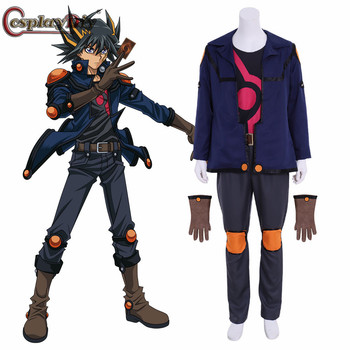 Cosplaydiy Anime Yu-Gi-Oh! 5D's Yusei Fudo Cosplay Costume Outfits With Gloves Halloween Carnival Accessories Custom Made