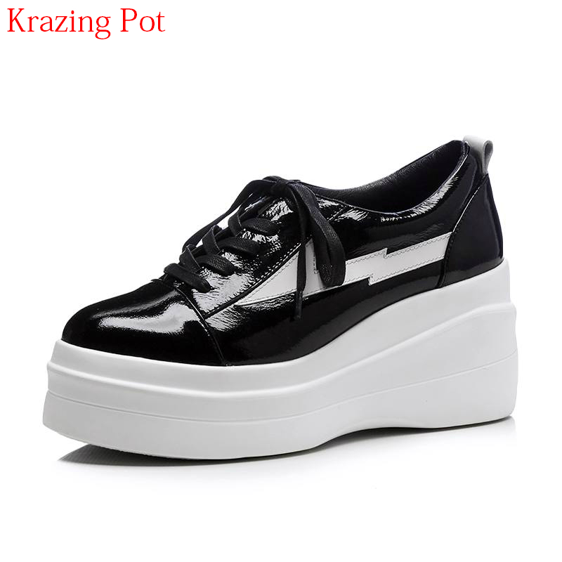 2018 Genuine Leather Spring Shoes Round Toe Lace Up Superstar Women Pumps High Heels Wedges Handmade Increased Concise Shoes L92