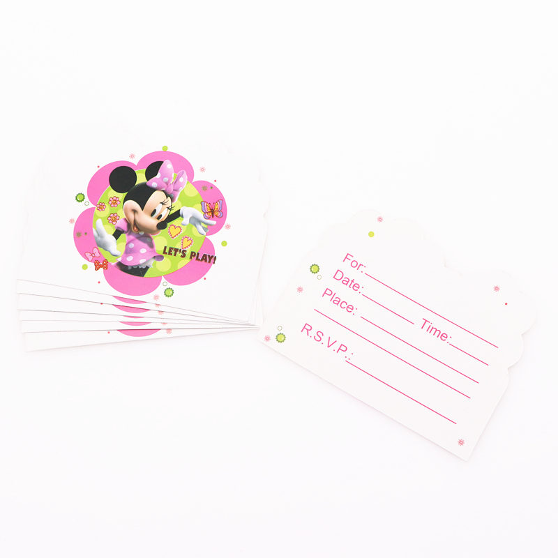 Us 1 47 36 Off 10pcs Minnie Cartoon Party Supplies Invitation Card Children S Birthday Party Decorations Kids Festival In Cards Invitations From