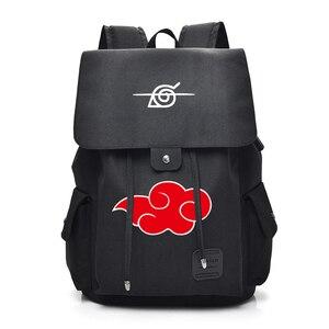 Image 4 - Anime Naruto Cartoon Canvas Backpack for Teenage Akatsuki Itachi Sharingan School Daypack Large Capacity Shoulder Bags Mochila