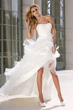 Elegant Lace Sweetheart Organza Ruffles Front Short Long Back Wedding Dresses 2015 Vestidos De Noiva Sexy