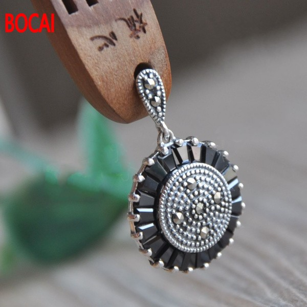 S925 bijoux en argent sterling mode noir cristal grenat boucles d'oreilles oreille cintre