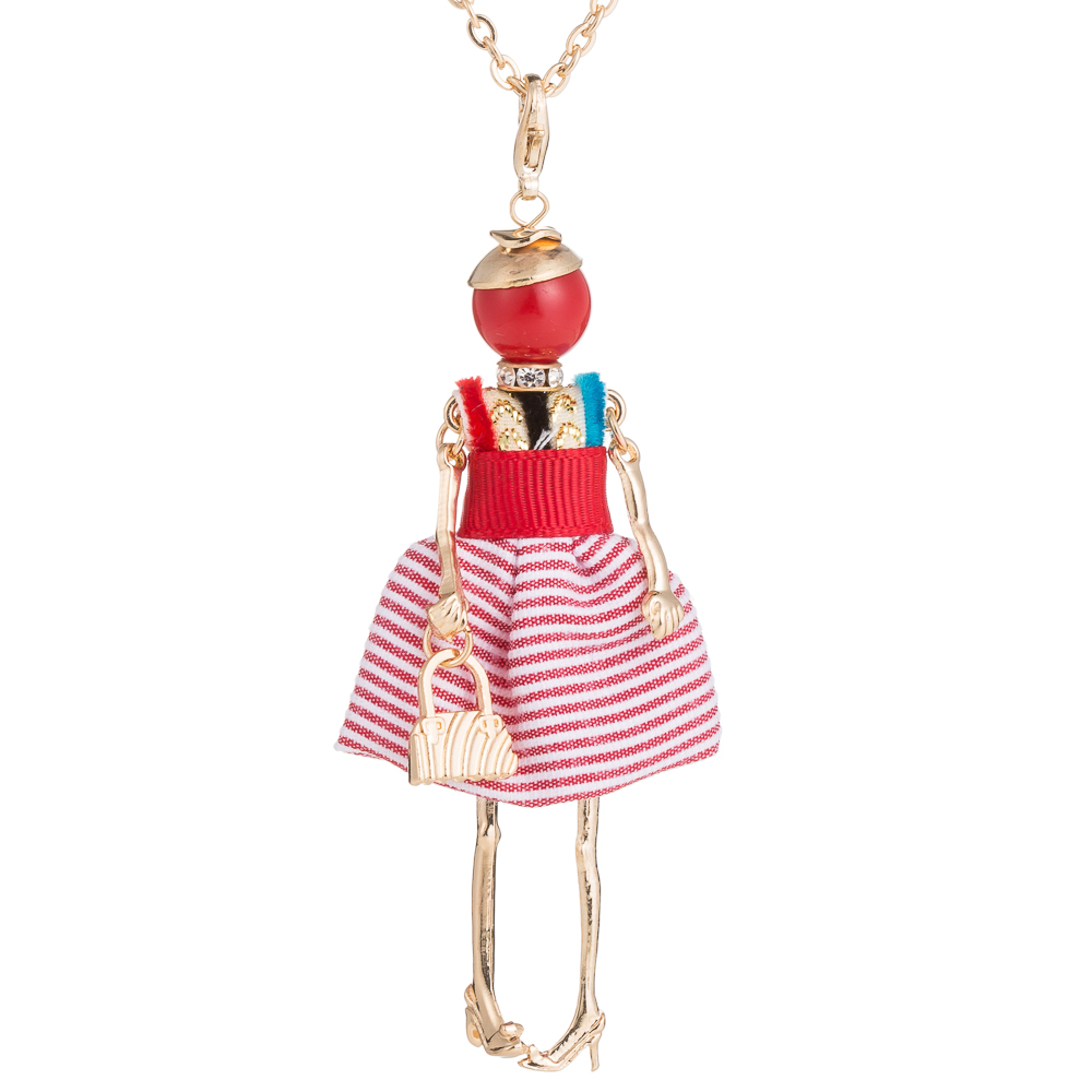 2017 Christmas gift Doll Necklace Frence red Cloth Long Chain Pendant New winter Style Fashion Jewelry For Women Accessories