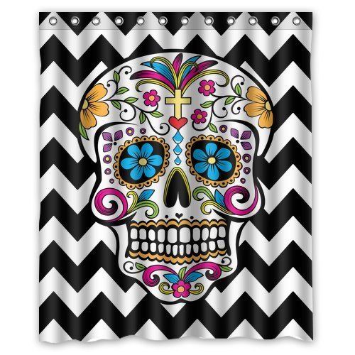 Custom Waterproof Bathroom Chevron Sugar Skull Shower Curtain Polyester Fabric Shower Curtain Size