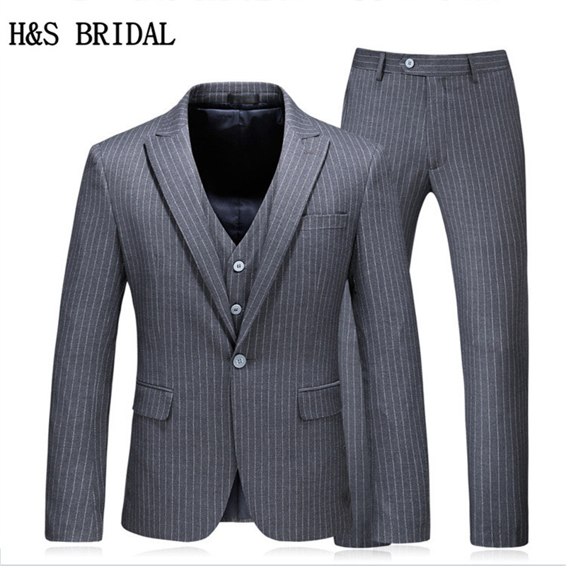 H&S BRIDAL Groom Wear Male Wedding Suit Slim Fit Men Formal Wear Suits 3Pcs Set (Jacket+Pants+Vest) 5XL