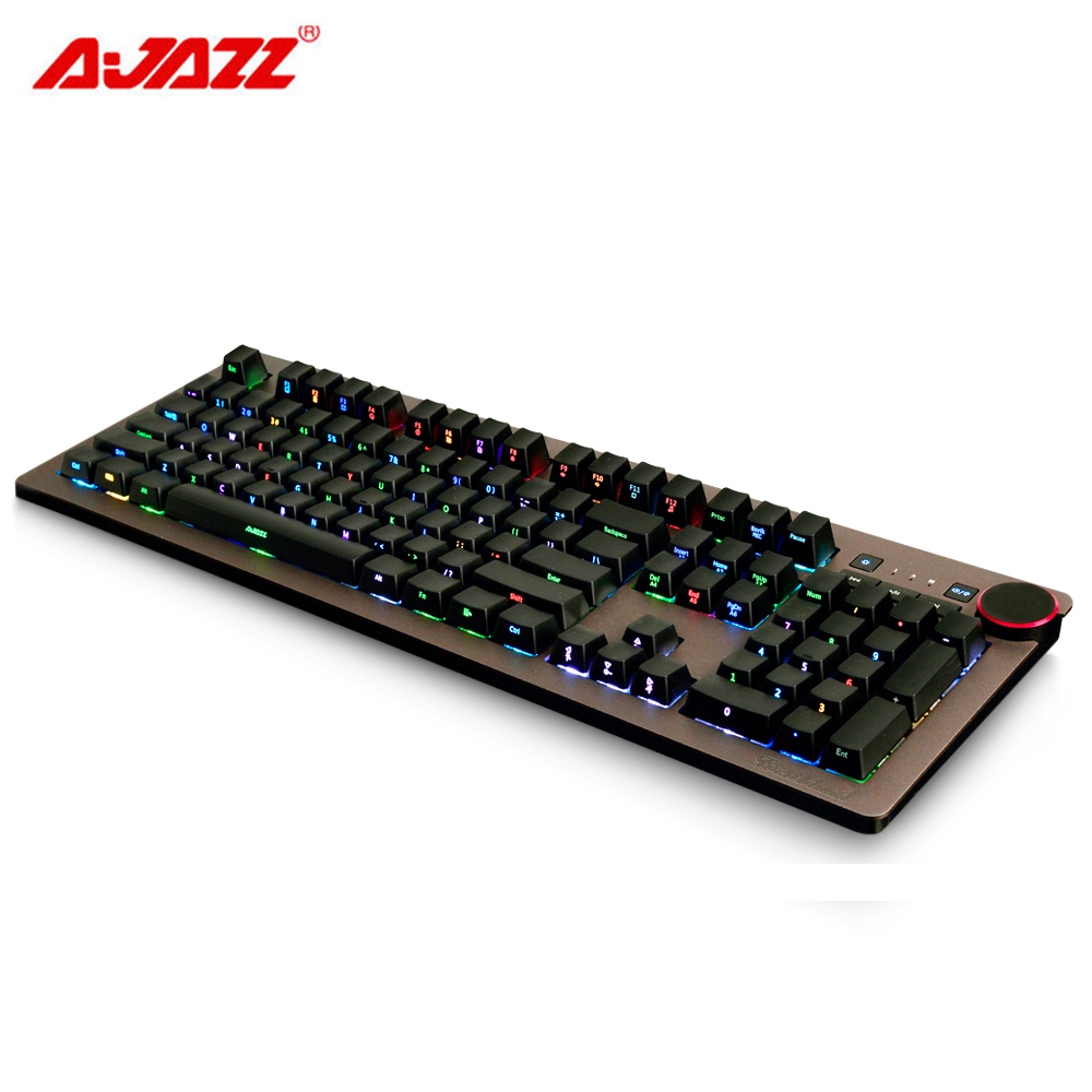 AJAZZ AK60 110 Keys Side Engraved Cherry Brown Swith Wired USB Mechanical Keyboard with RGB Backlight Roller