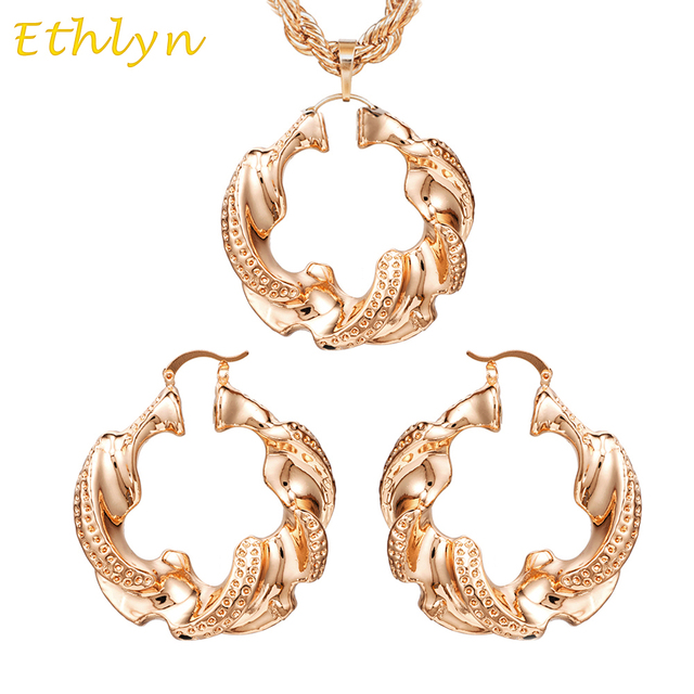 Ethlyn New Arrival Big Hoop Earrings Pendant Womens Jewelry Sets