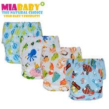 Miababy (5 шт./лот) детские моющиеся многоразовые реального ткань карман пеленки подгузник тренировочные брюки, сшитые защелками, костюмы от рождения до горшок один размер
