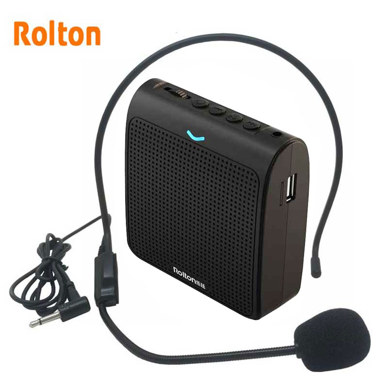 Rolton K100 Portable Loud Speaker Mini Voice Amplifier Microphone With USB TF Card FM Radio For Teacher Tour Guide Promotion
