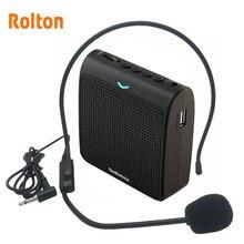 Rolton microfone portátil k100, alto falante, portátil, alto falante, mini amplificador de voz, com cartão usb, tf, rádio fm, para guia do professor