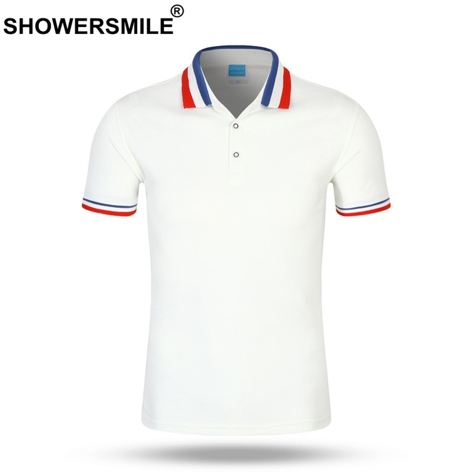 SHOWERSMILE Men Polo Shirt Business Casual Polo T Tops White Cotton Summer Regular Cheap Solid Tees Male British Style Clothing