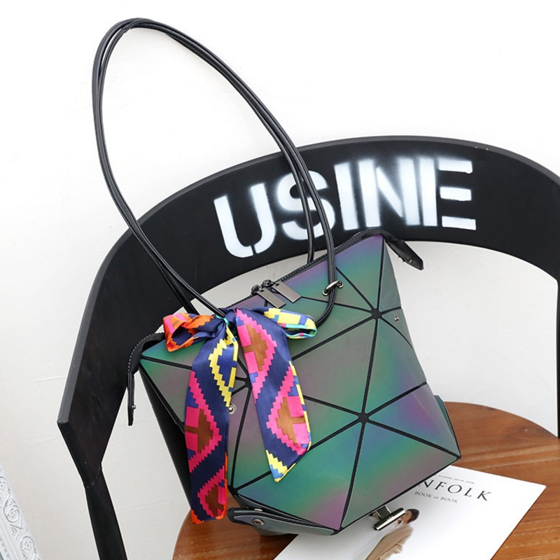 Fashion Fold Over Women Handbag Transform Designer Geometric Casual Tote Panelled Shoulder Bag Multi-function