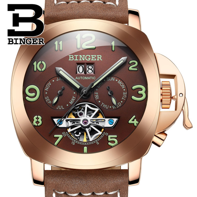 Original Luxury Brand BINGER Style PANERAI Skeleton Tourbillon Design Automatic Mechanical With Leather Band Strap 2