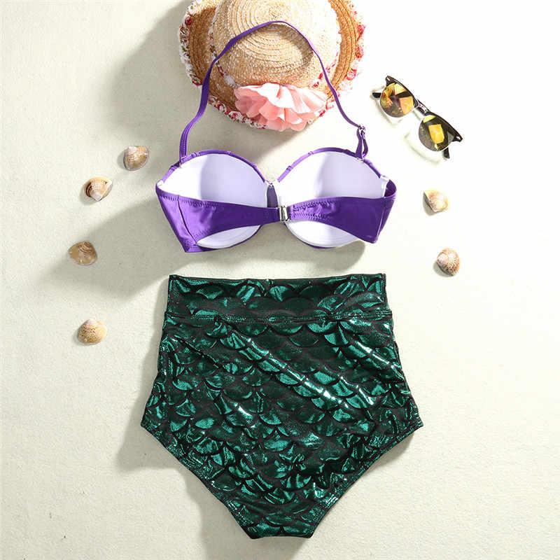 Strand Vrouwen Mermaid 2 STKS Gewatteerde Push Up Bikini Set Panty Hight Taille Bottom Badpak Badmode Badmode Badpak Zomer