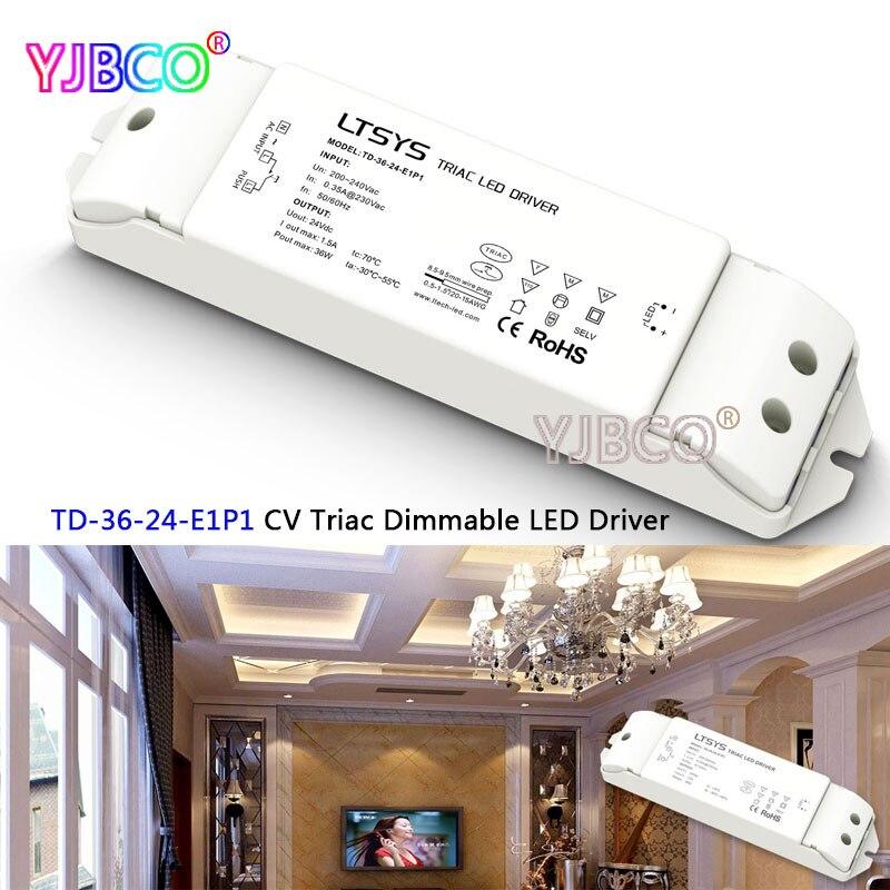 LTECH TD 36 24 E1P1; 100 240V input,Output 36W 24VDC 1.5A constant voltage Triac Dimmable LED intelligent Driver Triac Push Dim