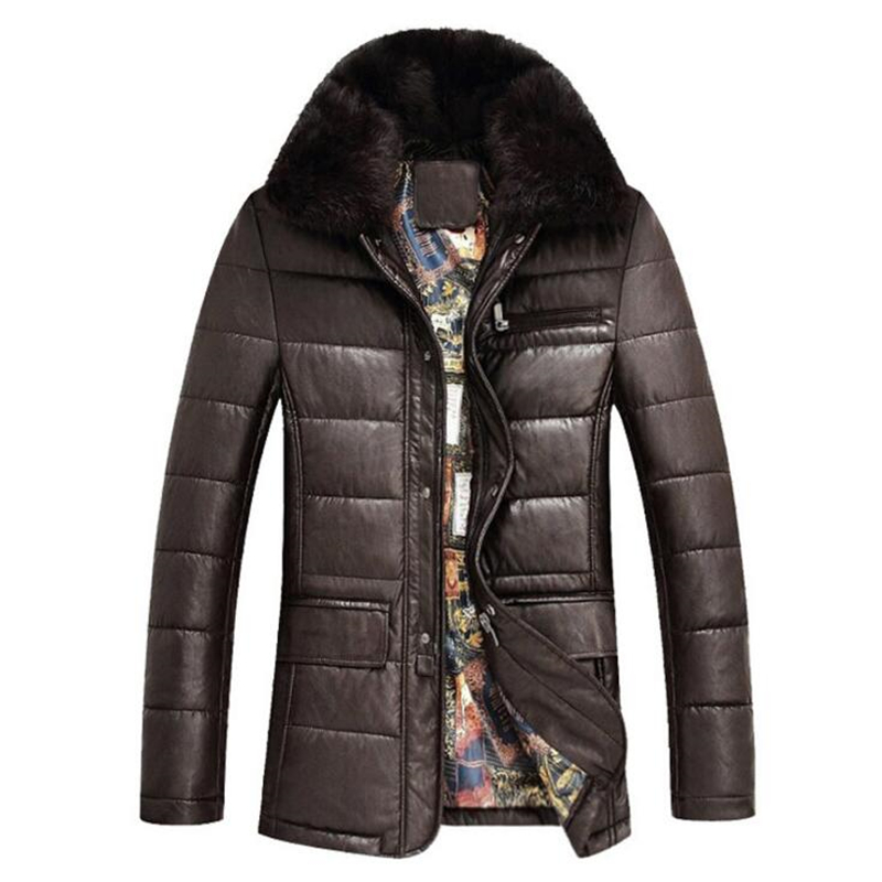 Winter Leather Jacket Men Real Rabbit Fur Collar Jackets Keep Warm Coat Casual Men's Thick Down Parka Overcoat Jackets homme