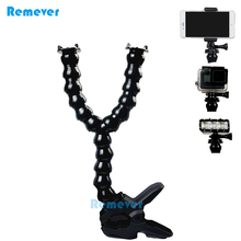 Y-shaped Selfie Stick+Flexible Clamp for GoPro Hero 5 4 3 Xiaoyi SJCAM Adjustable Double Head Monopod With Holder Iphone 8 7