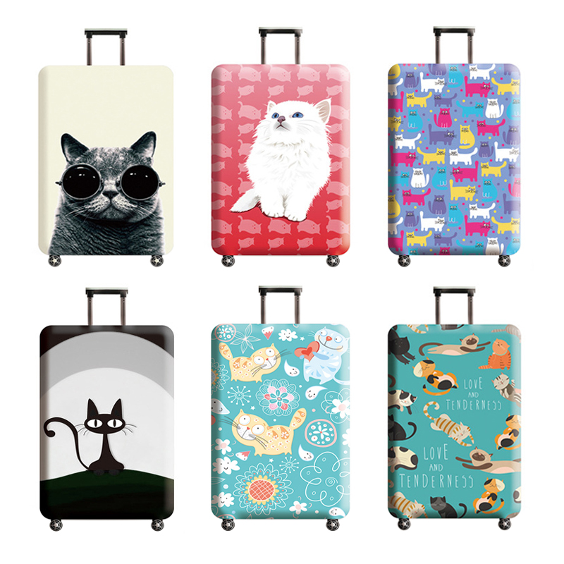 Travel Accessories Luggage Cover Suitcase Protection Baggage Dust Cover Trunk Set Elasticity Lovely Cat Pattern Trolley Case