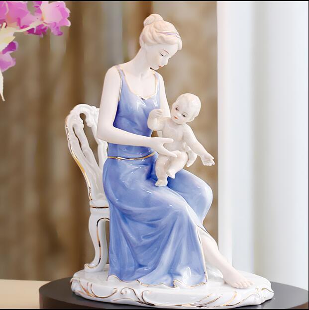 Personnages en céramique européens ornements cadeaux de mariage pour envoyer des ornements d'enfant artisanat cadeaux de fête des mères cadeaux de mariage 05112 - 4